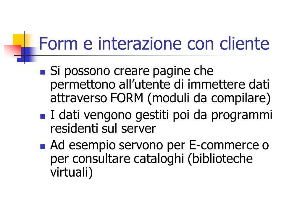 Form e interazione con cliente
