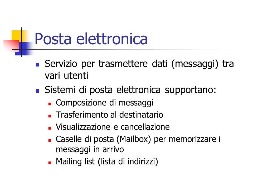 Posta elettronica Servizio per trasmettere dati (messaggi) tra vari utenti. Sistemi di posta elettronica supportano: