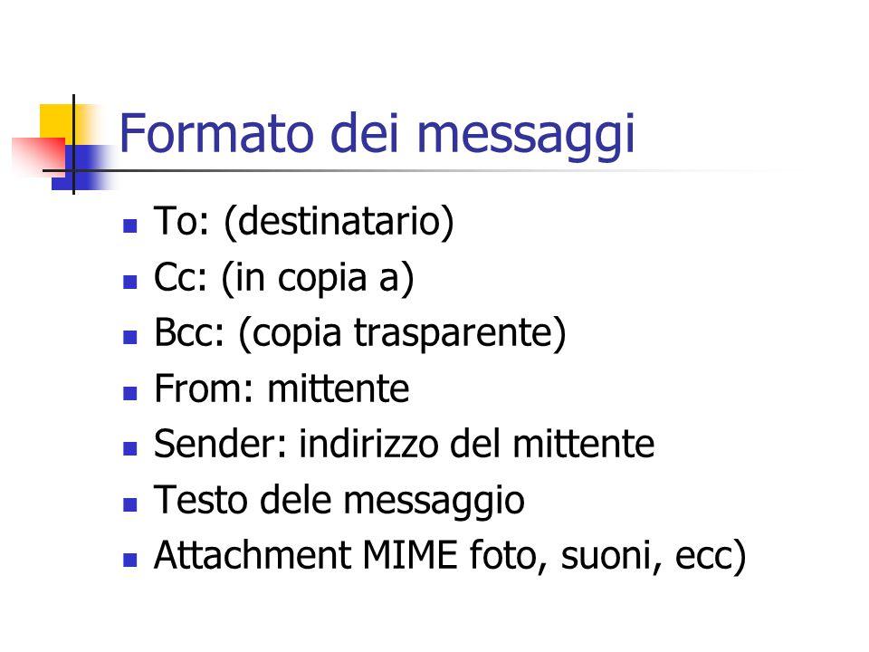 Formato dei messaggi To: (destinatario) Cc: (in copia a)