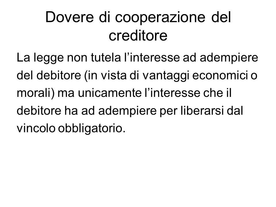 Dovere di cooperazione del creditore