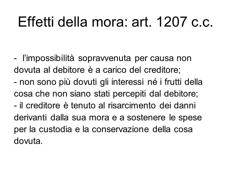 Effetti della mora: art. 1207 c.c.