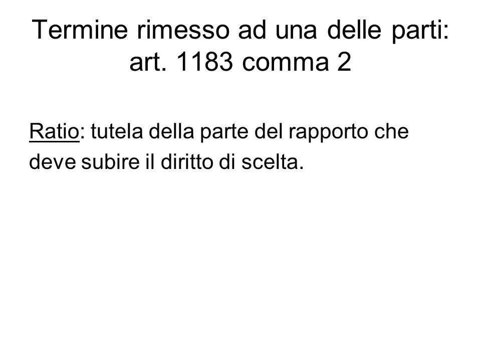 Termine rimesso ad una delle parti: art. 1183 comma 2