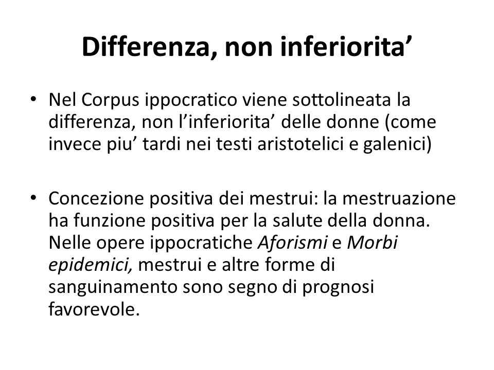 Differenza, non inferiorita'