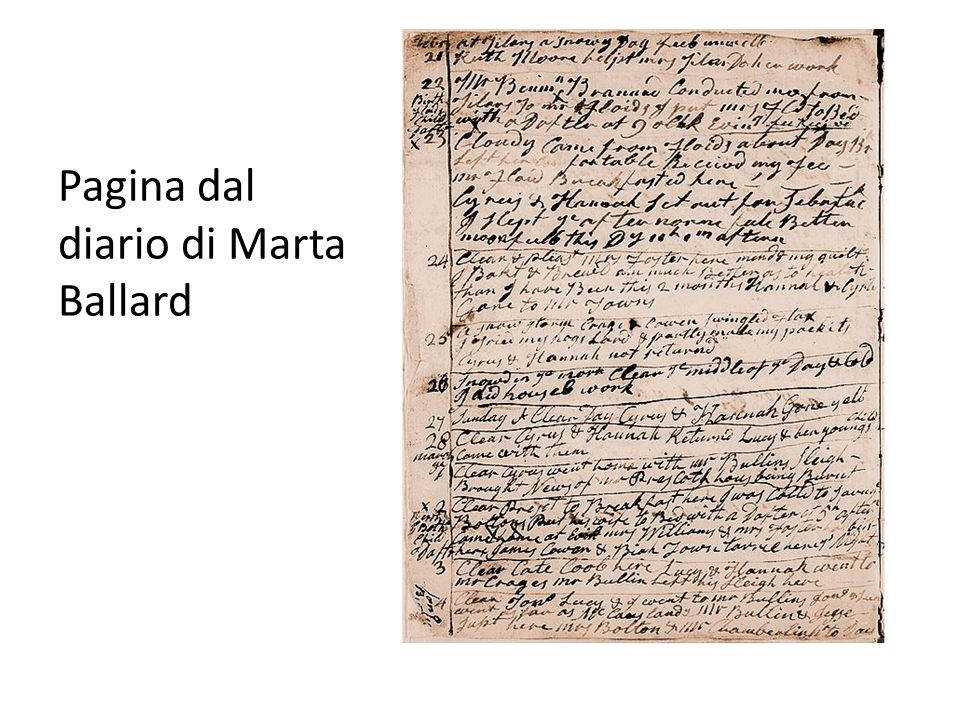 Pagina dal diario di Marta Ballard