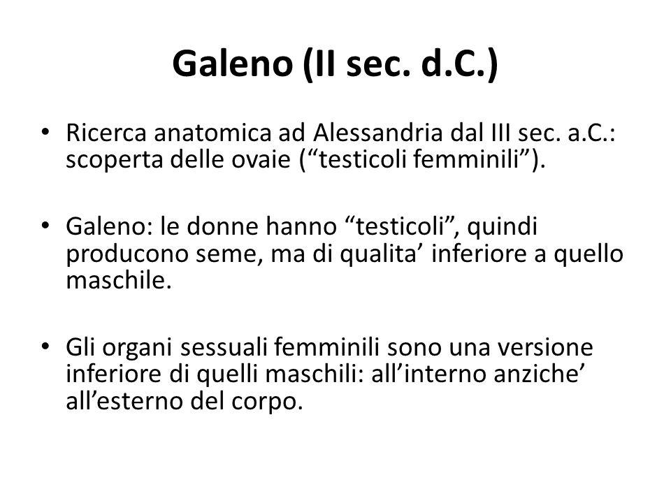Galeno (II sec. d.C.) Ricerca anatomica ad Alessandria dal III sec. a.C.: scoperta delle ovaie ( testicoli femminili ).