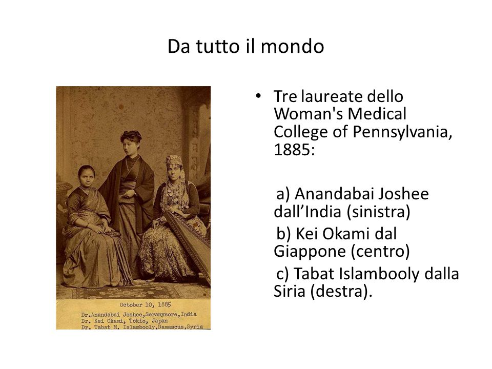 Da tutto il mondo Tre laureate dello Woman s Medical College of Pennsylvania, 1885: a) Anandabai Joshee dall'India (sinistra)