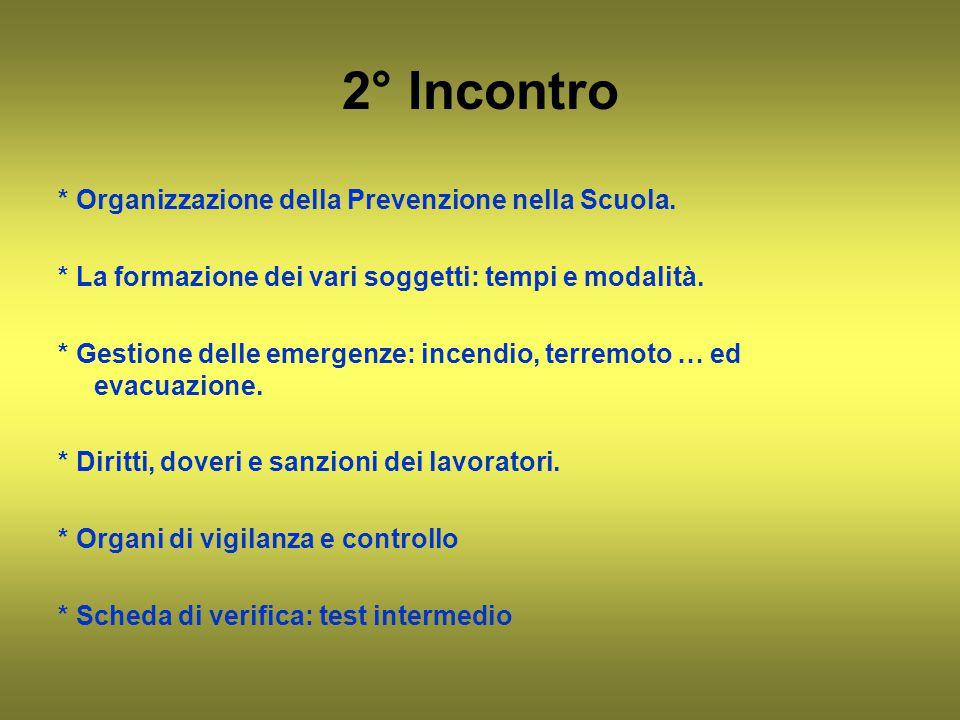 2° Incontro * Organizzazione della Prevenzione nella Scuola.