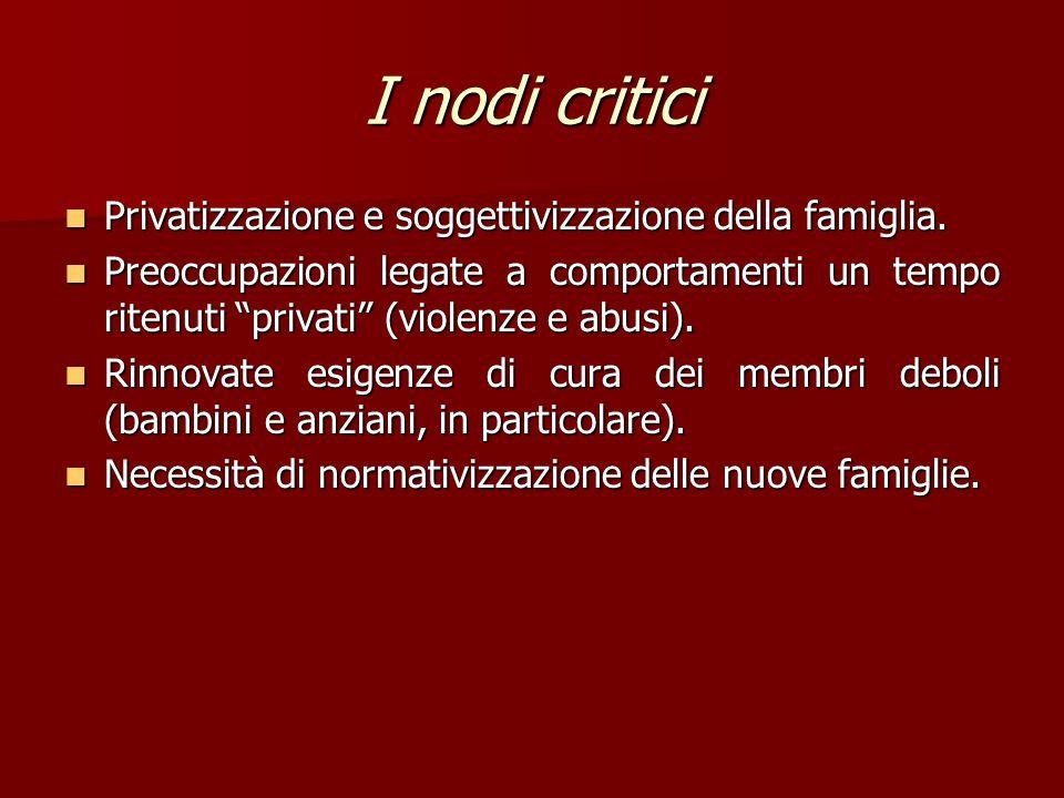 I nodi critici Privatizzazione e soggettivizzazione della famiglia.