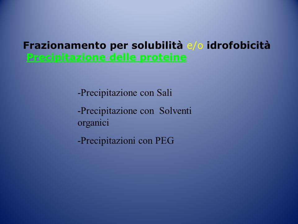 Frazionamento per solubilità e/o idrofobicità