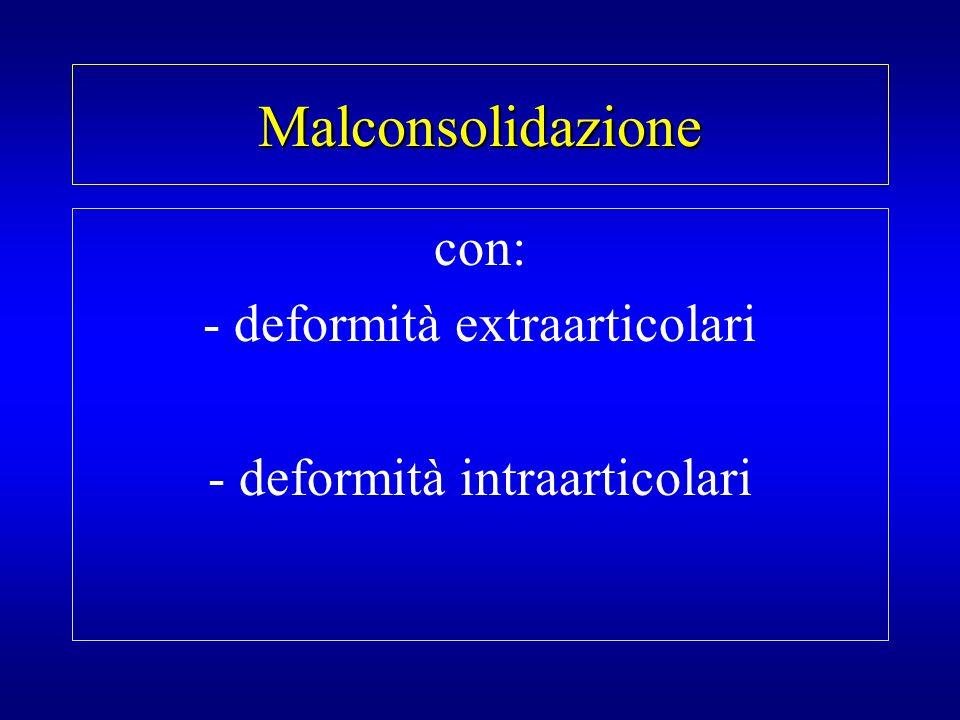 Malconsolidazione con: - deformità extraarticolari
