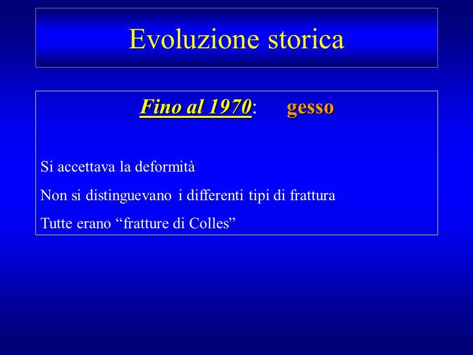 Evoluzione storica Fino al 1970: gesso Si accettava la deformità
