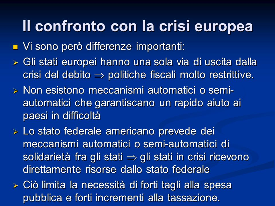 Il confronto con la crisi europea