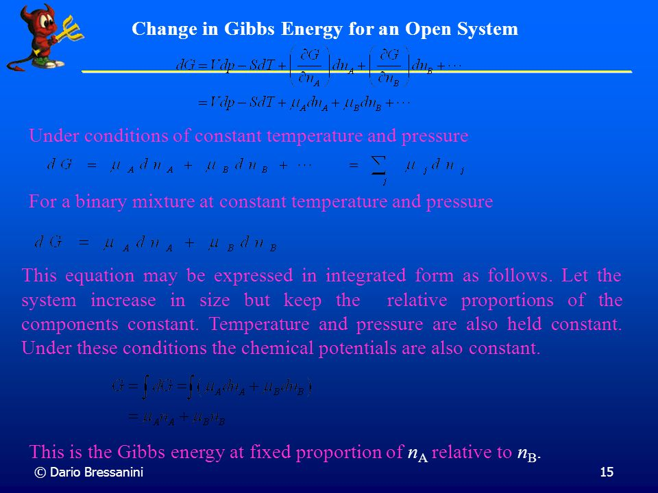 Change in Gibbs Energy for an Open System