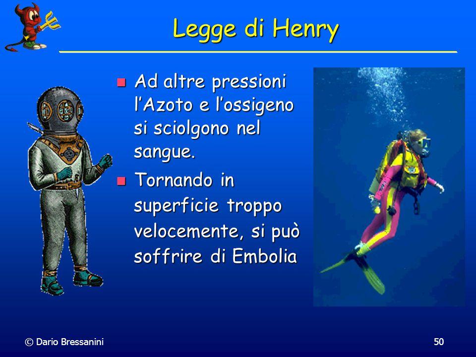 Legge di Henry Ad altre pressioni l'Azoto e l'ossigeno si sciolgono nel sangue.