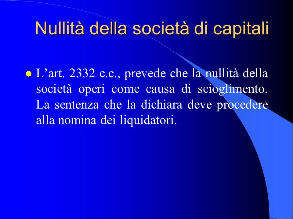 Nullità della società di capitali