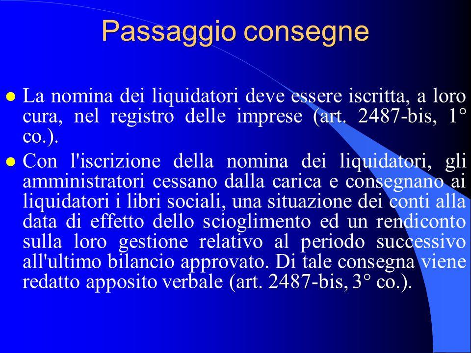Passaggio consegne La nomina dei liquidatori deve essere iscritta, a loro cura, nel registro delle imprese (art. 2487-bis, 1° co.).