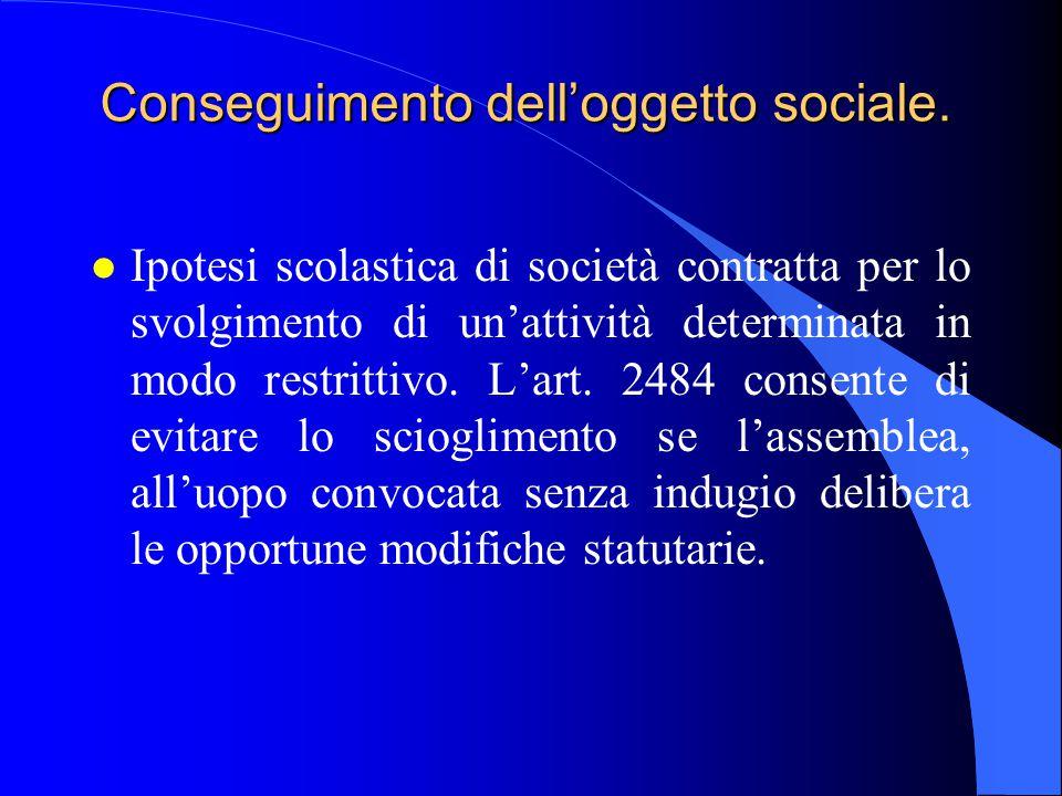 Conseguimento dell'oggetto sociale.