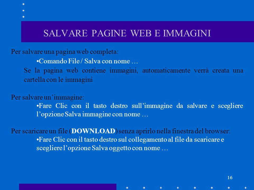 SALVARE PAGINE WEB E IMMAGINI