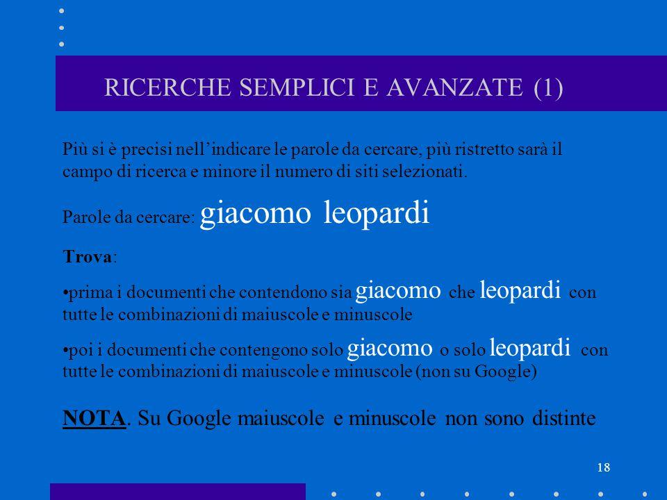 RICERCHE SEMPLICI E AVANZATE (1)