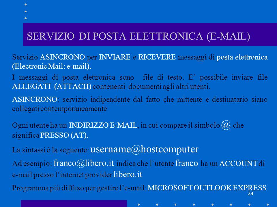 SERVIZIO DI POSTA ELETTRONICA (E-MAIL)