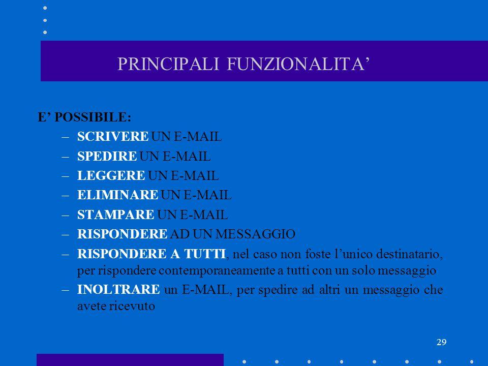 PRINCIPALI FUNZIONALITA'