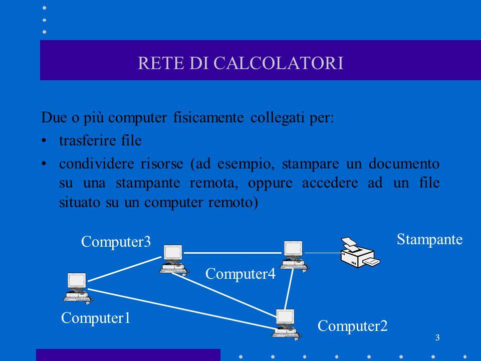 RETE DI CALCOLATORI Due o più computer fisicamente collegati per: