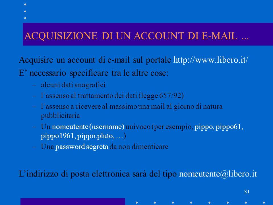 ACQUISIZIONE DI UN ACCOUNT DI E-MAIL ...