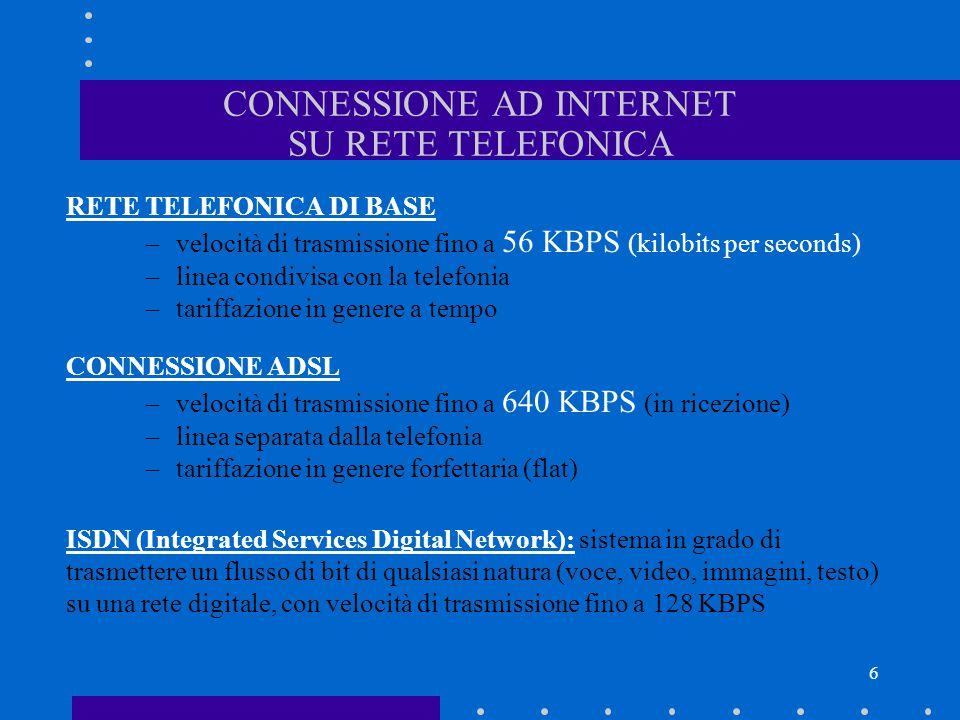 CONNESSIONE AD INTERNET SU RETE TELEFONICA