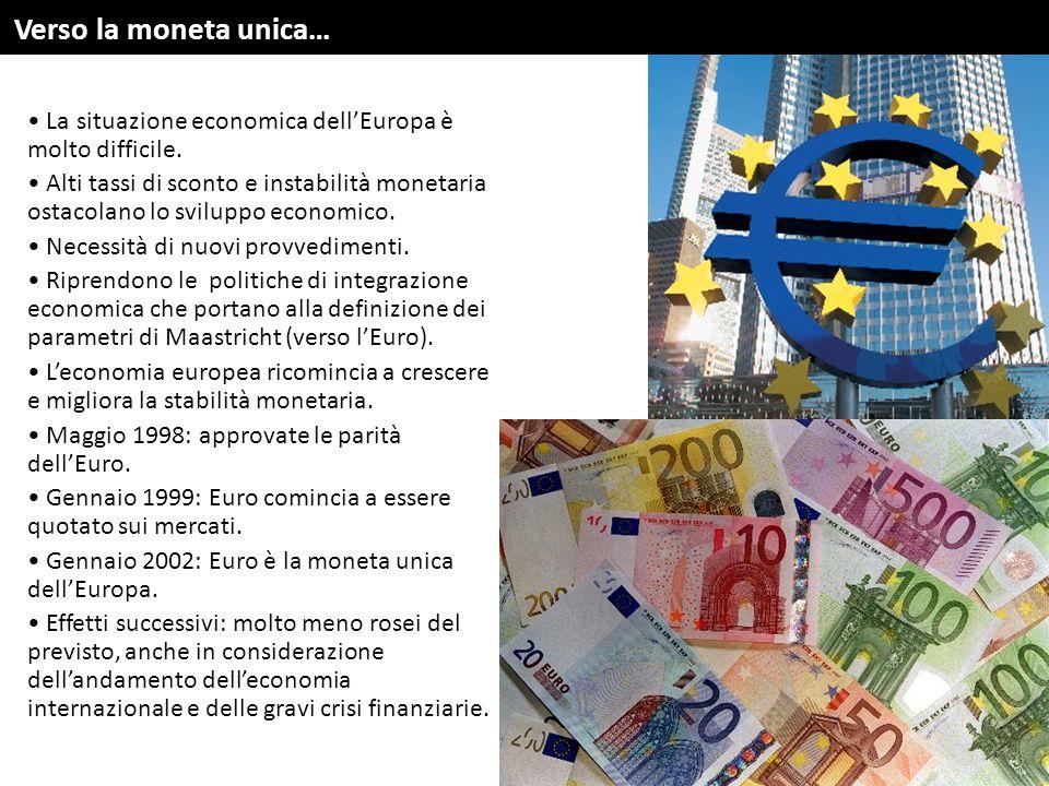 Verso la moneta unica… La situazione economica dell'Europa è molto difficile.