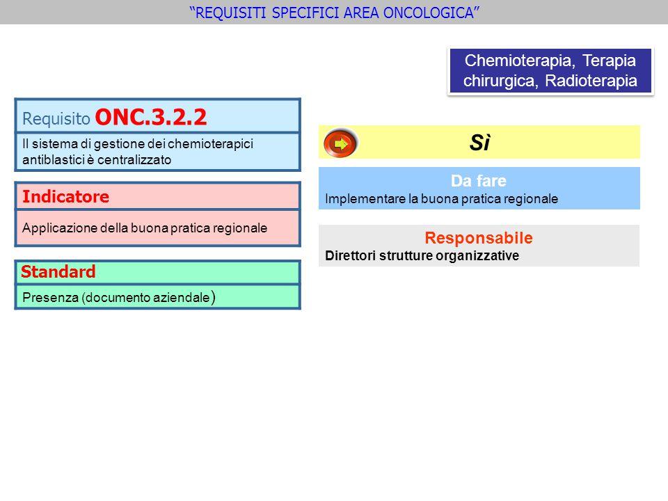 Sì Requisito ONC.3.2.2 Chemioterapia, Terapia chirurgica, Radioterapia