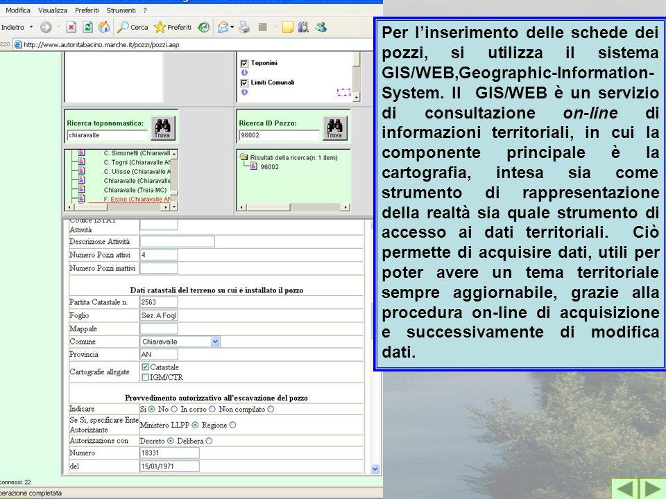 Per l'inserimento delle schede dei pozzi, si utilizza il sistema GIS/WEB,Geographic-Information- System.