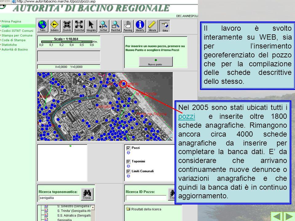 Il lavoro è svolto interamente su WEB, sia per l'inserimento georeferenziato del pozzo che per la compilazione delle schede descrittive dello stesso.