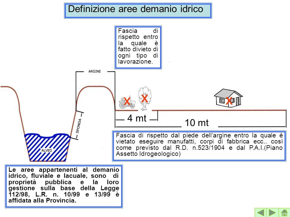 x x x Definizione aree demanio idrico 4 mt 10 mt