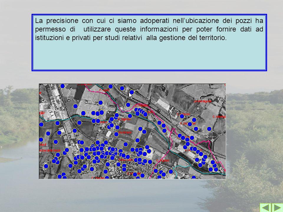 La precisione con cui ci siamo adoperati nell'ubicazione dei pozzi ha permesso di utilizzare queste informazioni per poter fornire dati ad istituzioni e privati per studi relativi alla gestione del territorio.
