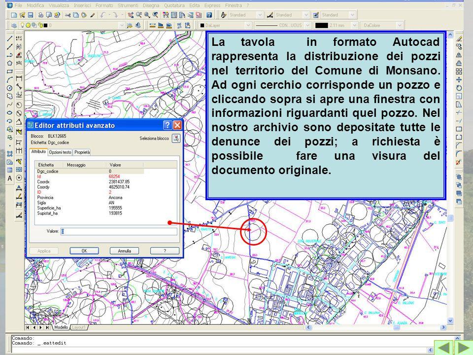 La tavola in formato Autocad rappresenta la distribuzione dei pozzi nel territorio del Comune di Monsano.