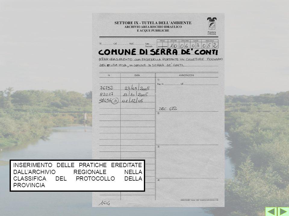 INSERIMENTO DELLE PRATICHE EREDITATE DALL'ARCHIVIO REGIONALE NELLA CLASSIFICA DEL PROTOCOLLO DELLA PROVINCIA