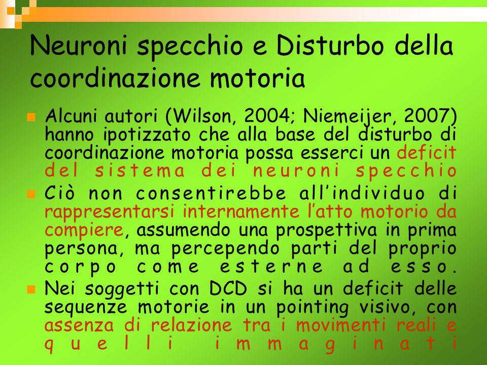 Neuroni specchio e Disturbo della coordinazione motoria