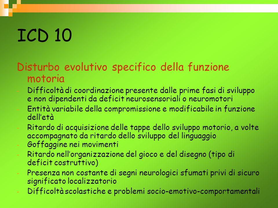 ICD 10 Disturbo evolutivo specifico della funzione motoria