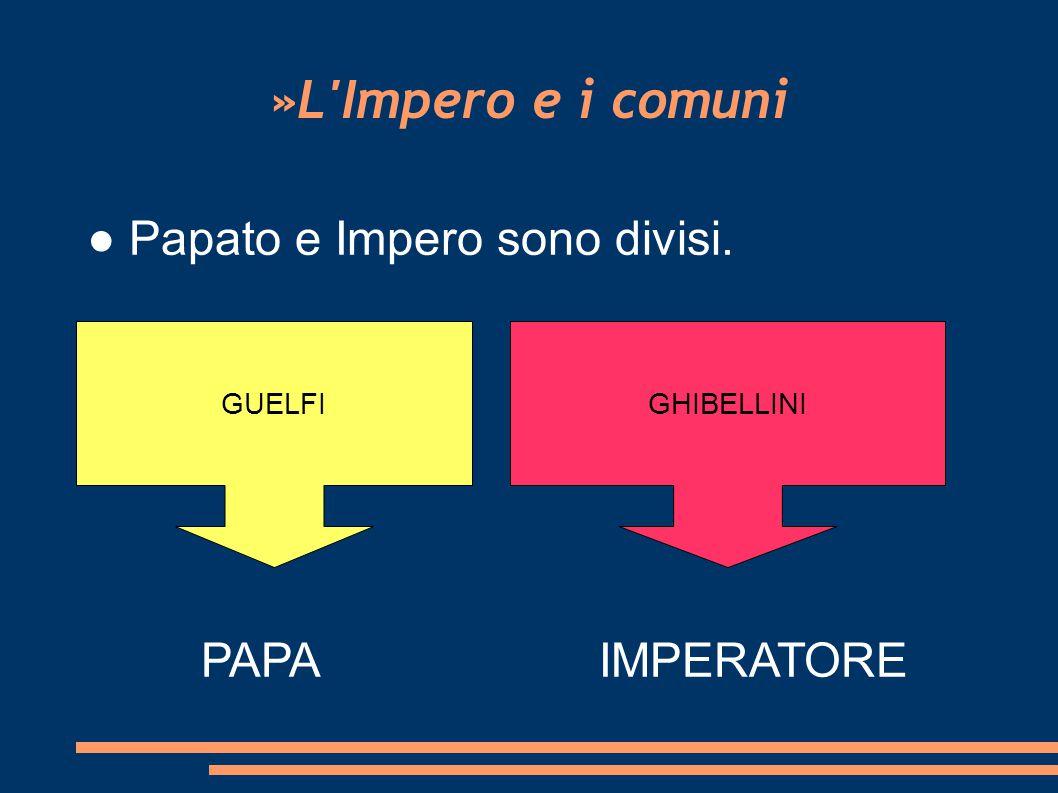 »L Impero e i comuni ● Papato e Impero sono divisi. PAPA IMPERATORE
