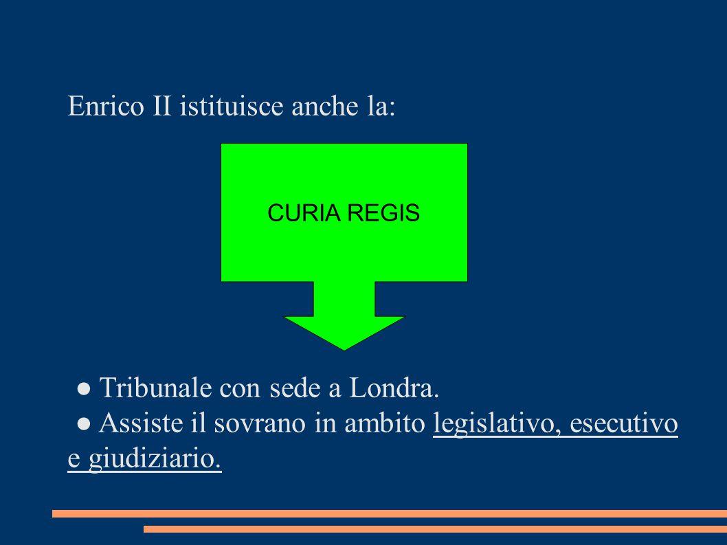 Enrico II istituisce anche la: ● Tribunale con sede a Londra