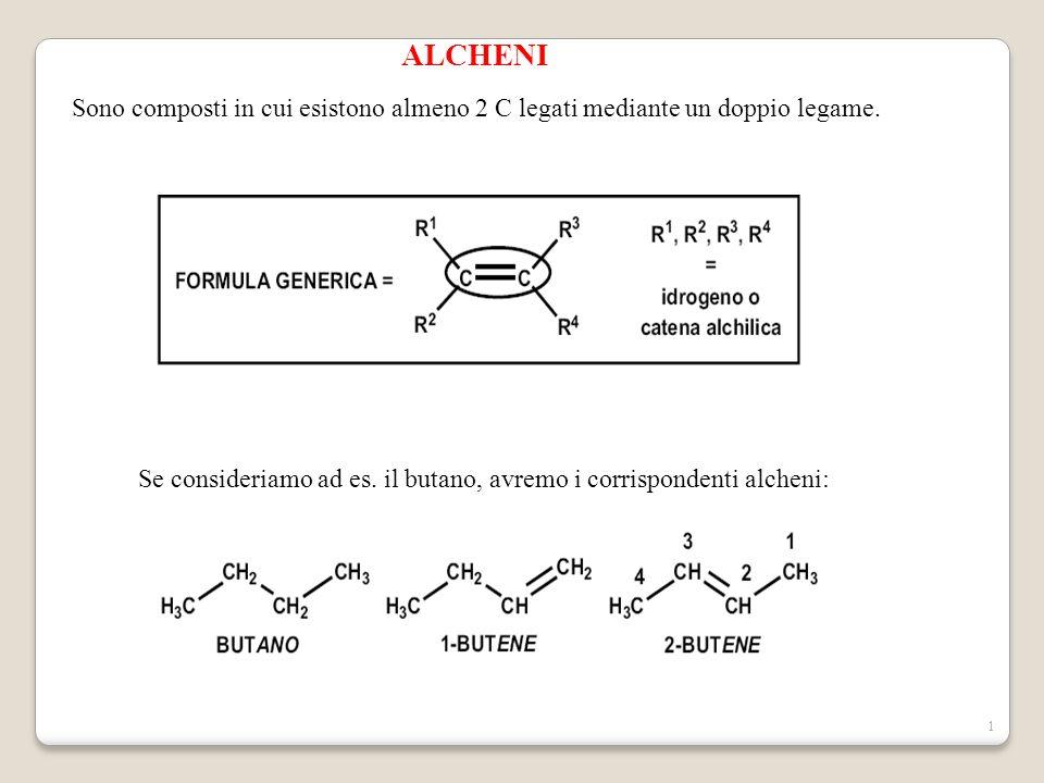 ALCHENI Sono composti in cui esistono almeno 2 C legati mediante un doppio legame.
