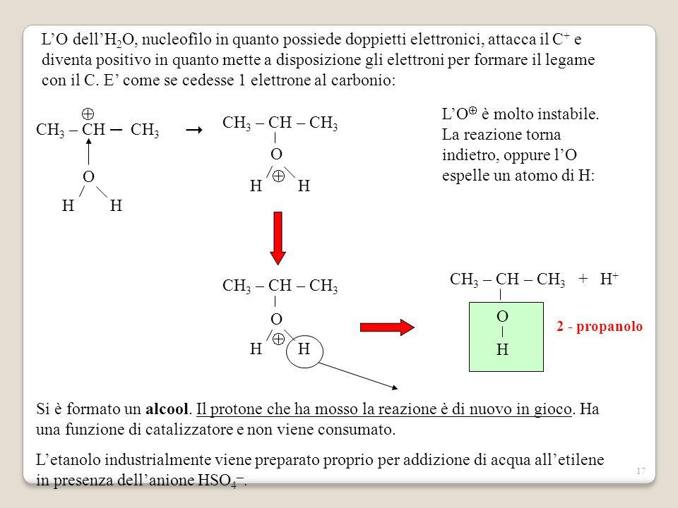 L'O dell'H2O, nucleofilo in quanto possiede doppietti elettronici, attacca il C+ e diventa positivo in quanto mette a disposizione gli elettroni per formare il legame con il C. E' come se cedesse 1 elettrone al carbonio:
