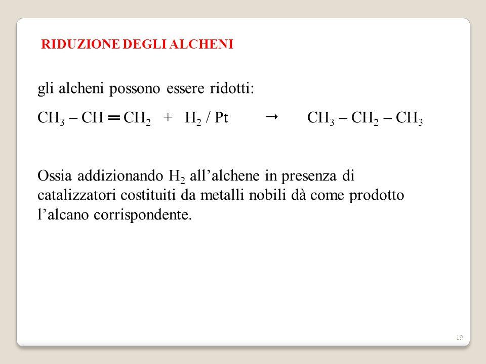 gli alcheni possono essere ridotti: