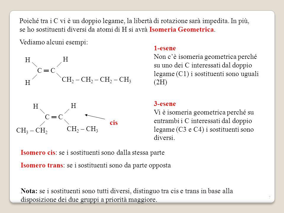Poiché tra i C vi è un doppio legame, la libertà di rotazione sarà impedita. In più, se ho sostituenti diversi da atomi di H si avrà Isomeria Geometrica.