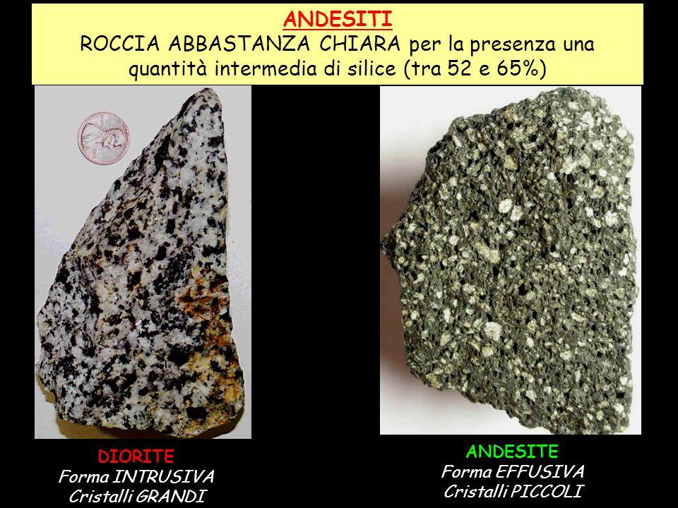 ANDESITI ROCCIA ABBASTANZA CHIARA per la presenza una quantità intermedia di silice (tra 52 e 65%) ANDESITE.