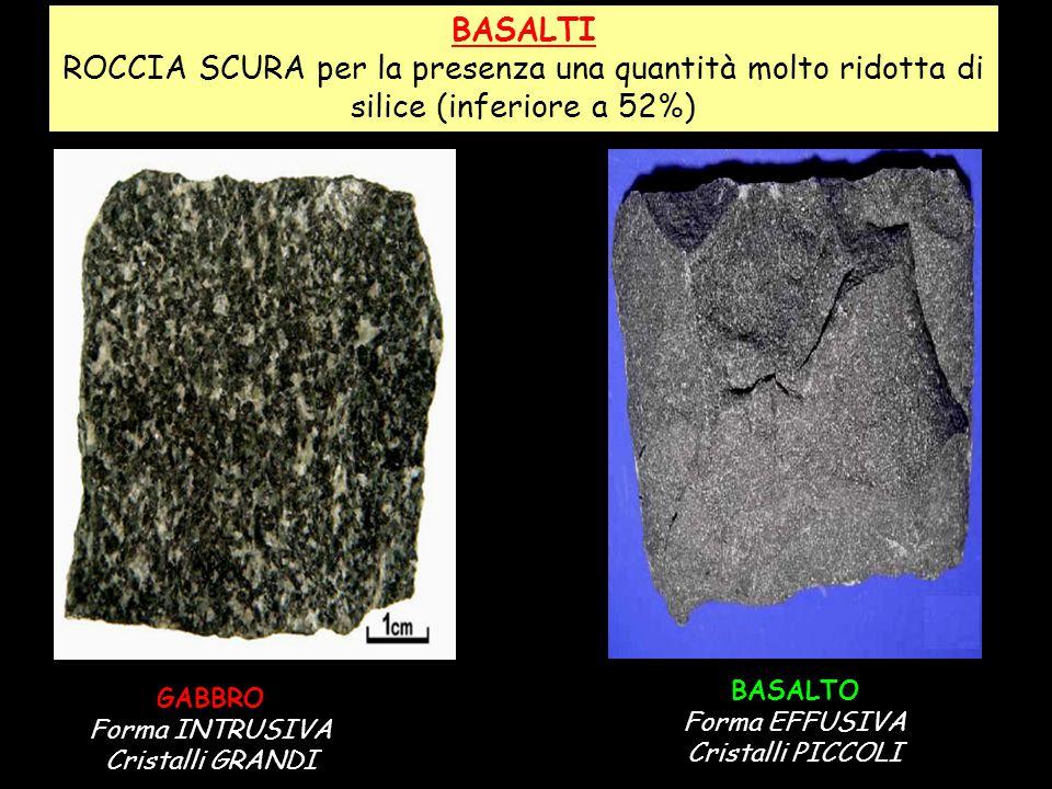 BASALTI ROCCIA SCURA per la presenza una quantità molto ridotta di silice (inferiore a 52%) BASALTO.