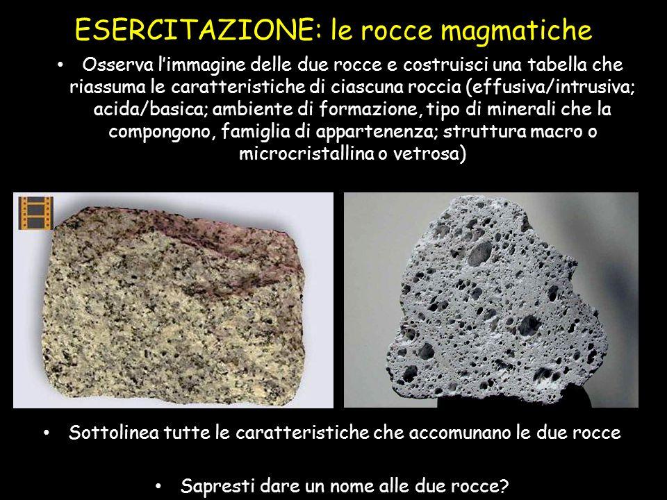 ESERCITAZIONE: le rocce magmatiche