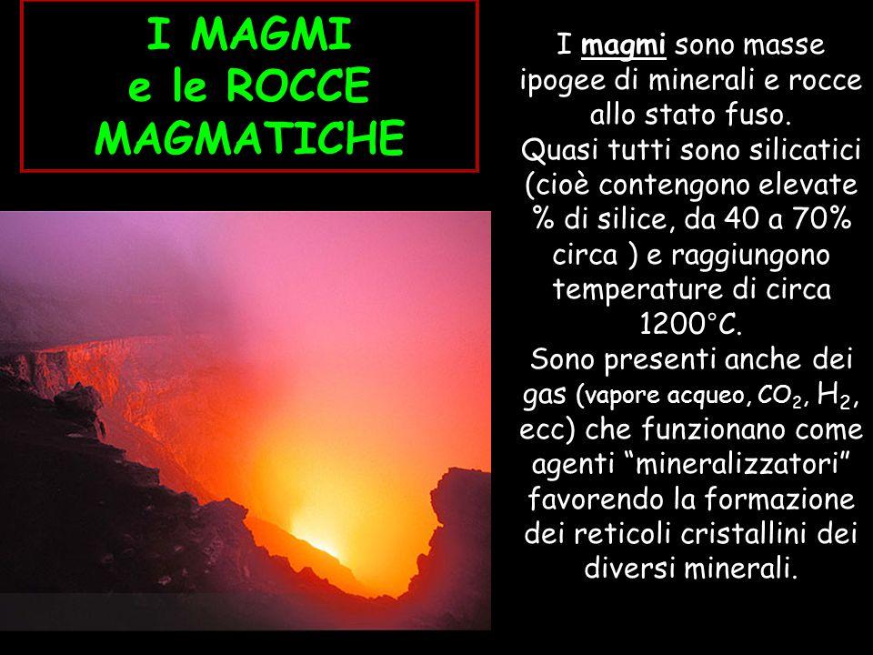 I magmi sono masse ipogee di minerali e rocce allo stato fuso.