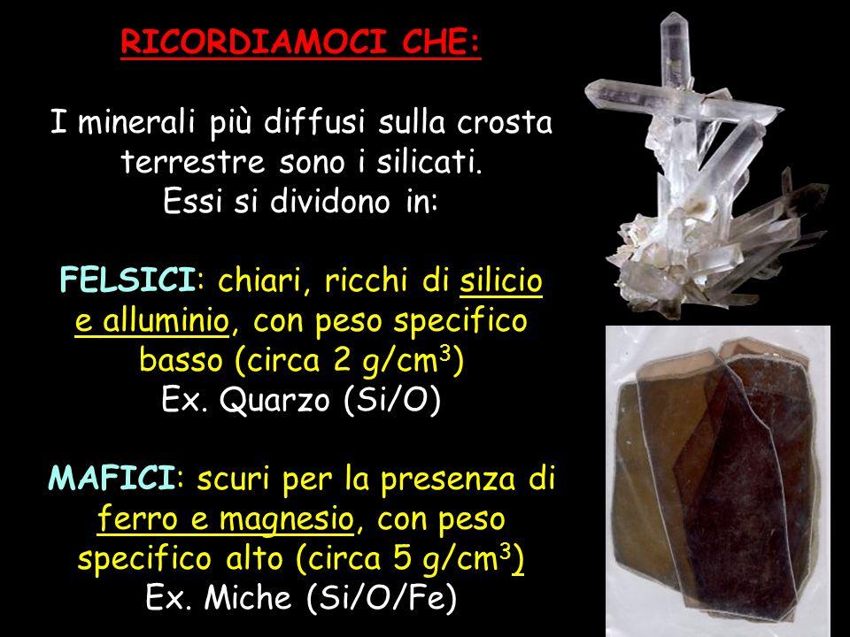 I minerali più diffusi sulla crosta terrestre sono i silicati.