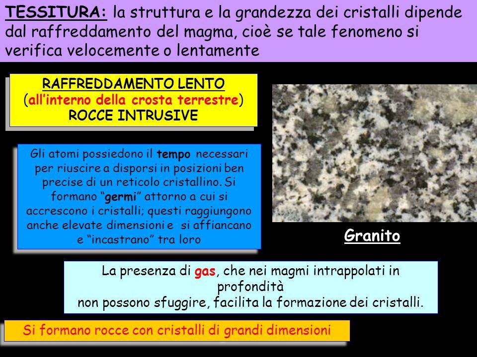TESSITURA: la struttura e la grandezza dei cristalli dipende dal raffreddamento del magma, cioè se tale fenomeno si verifica velocemente o lentamente